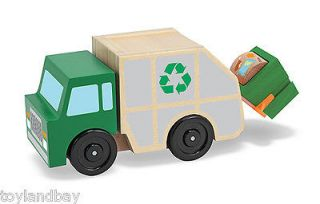 Doug 4549 Classic Wooden Garbage Santitation Truck With Trash Bin Mint