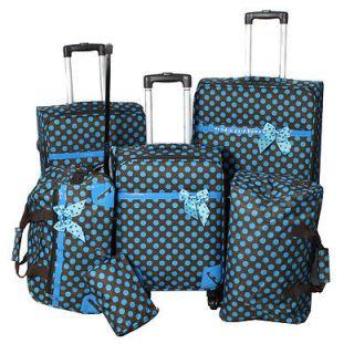 All Season Polka Dot Delight 6 Piece Spinner Luggage Set   Brown
