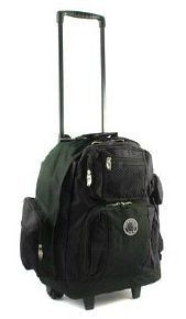 18 Travel Deluxe Rolling Backpack Travel Bag Bookbag Laptop BLACK