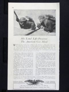 1918 AT&T sponsored U.S. Government Info World War 1 Gas Mask magazine