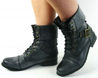 TRENDY LACE UP LADIES WOMANS VINTAGE MILITARY ARMY BOOTS FLAT GREY