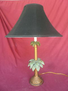 GALLERY TALL TALBLE LAMP BLACK SHADE PALM TREE MOTIF! EXCCELLENT