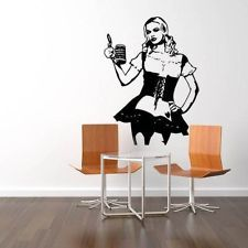 BARMAID WITH TANKARD QUOTE WALL ART STICKER, WALL MURAL, WALL DECAL