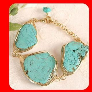 New Women Fashion Jewelry Vintage Antique Style Turquoise Gold Tone
