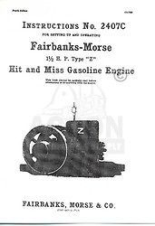 Fairbanks Morse Type Z 1 1/2 HP Hit Miss Engine Manual