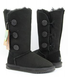 ugg 3 buttons boots black premium australian sheepskin from australia