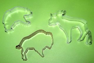 Lot of 3 North American Animal Cookie Cutters Moose Bear Buffalo