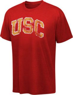 USC Trojans Cardinal Block Distressed Arch Washed Vintage T Shirt