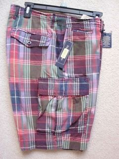 polo ralph lauren mens cargo shorts plaid cotton nwt