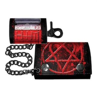 Red Heartagram Logo Tri Fold Leather Chain Wallet With Coin