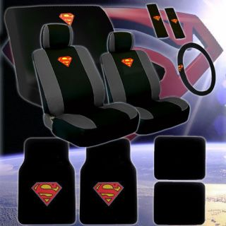 New Complete Superman Car Seat Covers Wheel Cover And Floor Mats Set