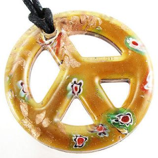 Round Green Peace Sign Flower Power Lampwork Murano Art Glass Pendant
