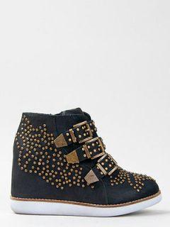 JEFFREY CAMPBELL VERONA Black Gold Studded Sneaker Shoe Booty wedge sz