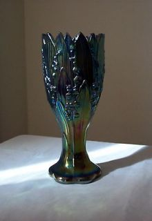 VTG WESTMORELAND BLUE/RED CARNIVAL GLASS LILY OF THE VALLEY FLOWER