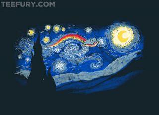 ACROSS THE STARRY NIGHT Nyan Cat / Vincent Van Gogh MENS XL T SHIRT
