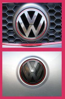 CARBON FIBER GRILL REAR BADGE EMBLEM LOGO DECAL SET VW GOLF MK5 GT GTI