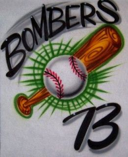 Airbrush Personalized T shirt Baseball/Bat Design With Name Number