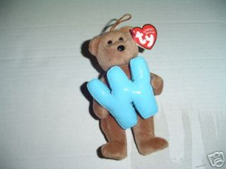 TY LETTER W INITIAL NAME ALPHABET BEANIE BABY Teddy Bear ORNAMENT New