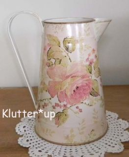 Chic Victorian Shabby Country 8 Tall TIN/METAL PITCHER VASE 1 Pink