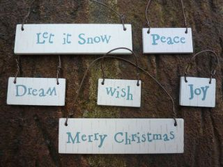 Small Little Wooden Xmas Word Hanging Sign Gift Tag Style Novelty