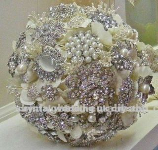 Brooch bridal bouquet with Swarovski crystal elements beads 3 sizes
