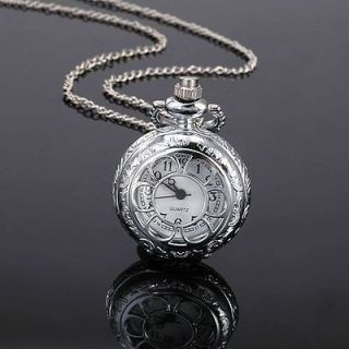 Silver Antique Style Xmas Gift Necklace Chain Quartz Pocket Watch +Box