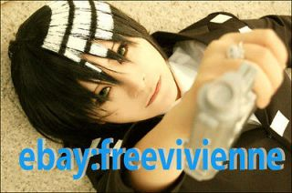 Soul Eater DEATH THE KID Short Black White Anime Cosplay Party Hair