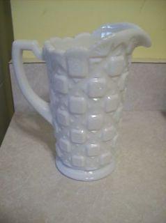 Westmoreland Glass **Old Quilt** Pattern Milk Glass Beverage Jug