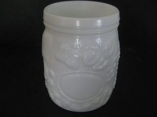 Vintage Antique Milk Glass Jar Wheaton Fine Grapes Leaves Apples Mason