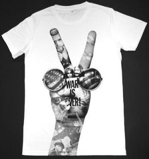 John Lennon Beatles T Shirt 38 S War is Over PEACE Rock Retro White
