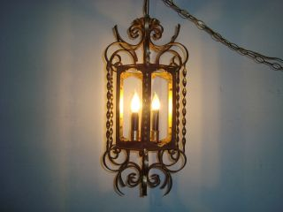 WROUGHT IRON SWAG LIGHT CEILING LIGHT RUSTIC COUNTRY NO PANES WORKS