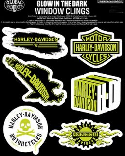 HARLEY DAVIDSON LOT OF WINDOW CLINGS GLOW IN THE DARK DECALS