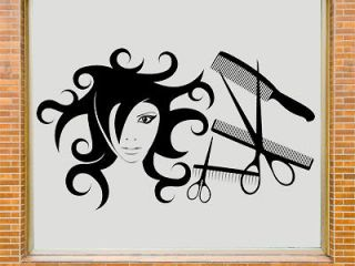 Hair Salon Shop Window Decal Wall Art Sticker  HD1  Free Applicator