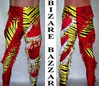 Newly listed Yellow Zebra & Red Zebra Fringed Insets Wrestling Tights.