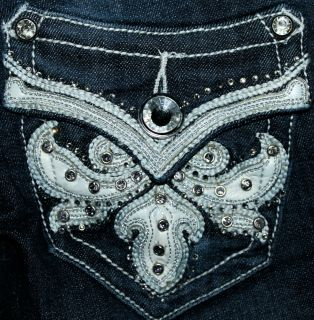 NEW GRACE IN LA JEANS DARK LEATHER DESIGN AT THE BUCKLE BOOT CUT