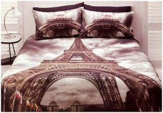 Paris Quilt Doona Cover Set Queen Size Bedding Eiffel Tower Travel