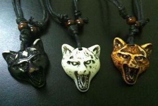 Mans Tibet Yak Bone Cool Wolf Head Gothic Necklace Three Color Mix