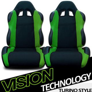 2x Universal LH+RH Blk/Green Fabric & PVC Leather Racing Seats+Sliders