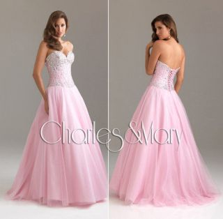 Beaded A line Tulle Quinceanera/Ball gown/Evening/Prom dress/SZ 6 8 10