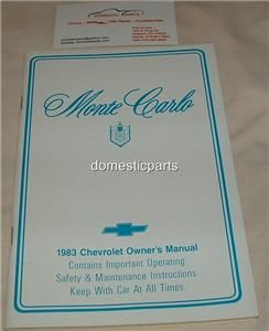 1983 chevrolet monte carlo new owners manual