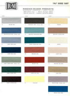 1967 Dodge Paint Color Sample Chips Card Colors