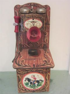 Vintage 1950s Tin Gong Bell Toy Telephone Country Western Cowboy