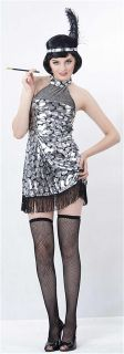 Roaring 20s Sparkly Silver Flapper Girl Fancy Dress Costume All Sizes