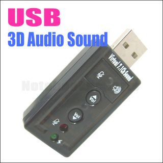 USB 2.0 To 3D Virtual Audio Sound Card Adapter Converter 7.1 CH PC NEW