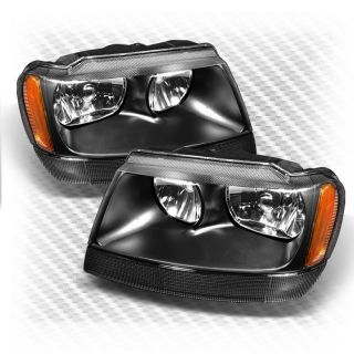 1999 2004 Jeep Grand Cherokee Crystal Black Headlights Head Lights