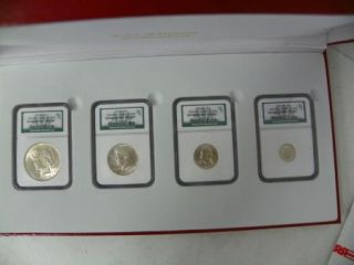 Binion Silver Collection 4 Coins NGC Graded Certified Inc Peace $ C212