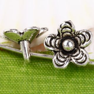 70pc Tibetan Silver Flower Bead Charms Drops CA326
