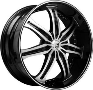 24 Lexani LX 7 Wheels Black Rim Tires Escalade QX56 22