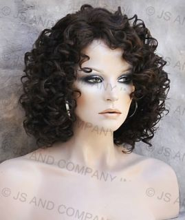 Wig Curly Dark Brown and Strawberry Blonde Mix Heat Safe 4 27