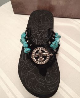 Montana West Rhinestone Bling Flip Flop Wedges, Black Turquoise Fleur